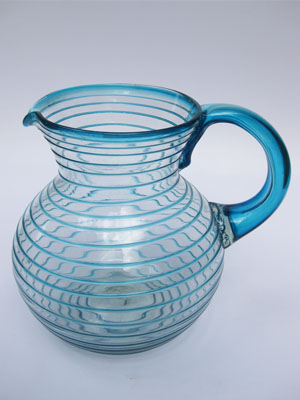 COLORED RIM GLASSWARE / 'Aqua Blue Spiral' blown glass pitcher